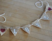 SALE -LOVE Small Burlap Pennant Cake Topper/ Wedding/ Bridal Shower / Cake Topper/ Bunting/ Banner/ Burlap/ Red Hearts - Ready to Ship