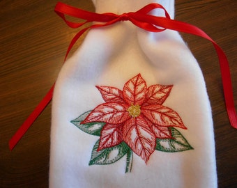 Gift Bag, Poinsettia Embroidery, Embroidered Gift Bag, Christmas Poinsettia Gift Bag, Holiday Gift Bag, Hostess Gift Idea,  Gift Card Holder