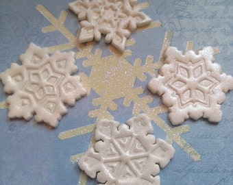 Winter White Shimmery Snowflakes Edible Cake and Cupcake Toppers - Set of 12