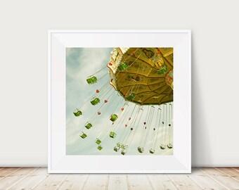 carnival photograph swing photograph nursery wall art red heart photograph green seat photograph carnival print travel photography