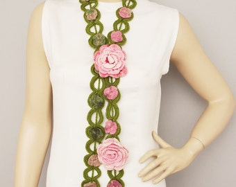 flower  crochet  jewelry scarf ,lariat crochet jewelry