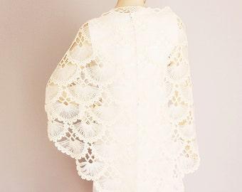 Ivory Bridesmaid gift ,crochet shawl scarf, Wedding gift ,  CHOOSE A COLOR