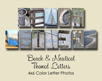 Beach & Nautical Letter Photos ,  4x6 Color Alphabet Photography, Beach letters and photos, beach photography