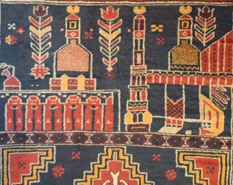 "Vintage, Hand Knotted, PRAYER RUG  from Afghanistan with Mihrabs and 3 leaf clovers, 2'9""x4'7"""
