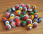 Vintage colorful glass buttons, floral glass buttons, Japanese lamp work buttons, ball buttons