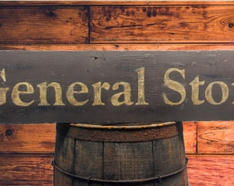 Rustic General Store Wood Sign - Hand Crafted Antique Wooden Decor