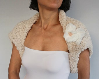 Bridal Shrug, Fall Wedding Bolero, Knit Ecru Champagne Bridal Cover-up, Soft Touch, Warm Hand Knitted Cape, Flower Corsage, Spring Wedding