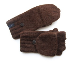 convertible mittens, felted wool mittens for men XL size