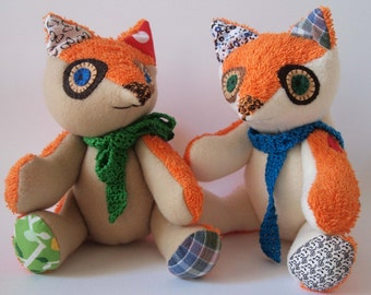Fabric articulated fox, patchwork plush READY TO SHIP