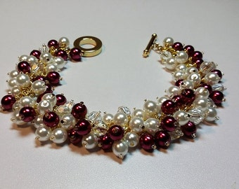 Red White Pearl and Crystal Cluster Gold Bracelet, Mom Sister Bridesmaid Jewelry Gift, Valentines Mothers Day Gifts
