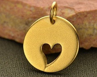 24K Gold Over Sterling Silver Disk with Heart Cutout - Heart Tag, Heart Charm, Mom, Daughter, Love, Open Heart Charms, Wholesale Charms