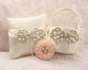 Flower Girl Basket Set Ring Bearer Pillow   -  Rhinestones Crystals and Satin Ivory or White