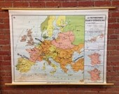 French-Swedish Preponderance/ La Preponderance Franco-Suedoise, 1661 Pull Down Vintage School Wall Map Circa 1960s French Map