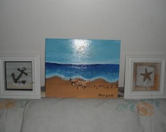 Running on the Beach - Dog Original Painting / Acrylic