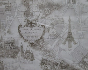 Vintage Paris Landmarks Map Beige Cotton Fabric Fat Quarter or Custom Listing