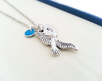 Initial Necklace. Silver Bird Necklace. Eagle Charm. Personalized Gift. Hand Stamped. Monogram Necklace. Bird Jewelry