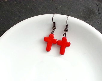 SALE Cross Earrings. Red Cross  Earrings.  Red Gemstone Cross Prndant . Steampunk Jewelry. Halloween Earrings