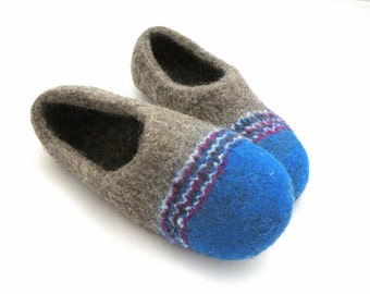felted slippers Vacation #2 handmde shoes handmade slippers blue slippers