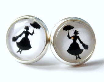Miss Poppins Small Studs Earrings silvercolored - england london fairy tale umbrella nanny