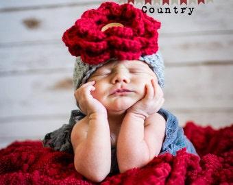 Newborn Flower Hat Newborn Baby Toddler Grey Red