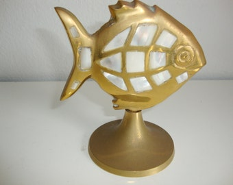 Brass Fish On Stand, Pearlescent Capiz Mother of Pearl Decoration. Desk Decor, Paper Weight