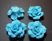 4 Fimo Polymer Clay Medium Blue Flower Rose Fimo Beads 40mm