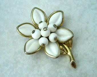 Vintage Coro Milk Glass Flower Brooch