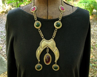 Vintage Etruscan Pendant Necklace Purple Green Lucite Dangles Huge Runway Tribal