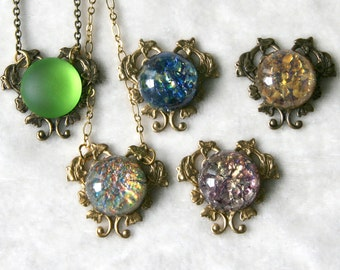 Dichroic Glass Cabochon Antiqued Copper Brass Heart Vine and Flowers Necklace