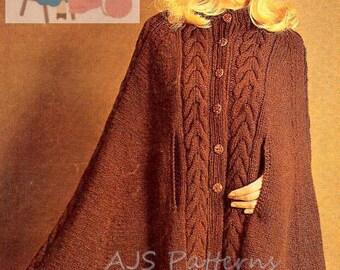 PDF Knitting Pattern - Ladies Retro Cape in Aran or DK wool - Instant Download