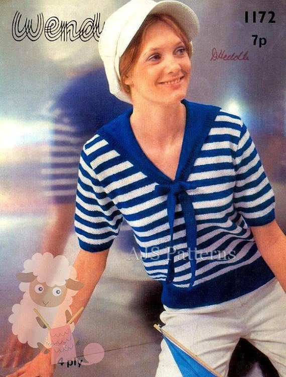 PDF Knitting Pattern for a Ladies Retro Nautical Sailor Top - Instant Download
