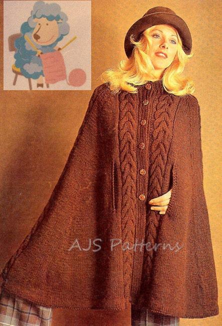 Wool Cape Knitting Pattern : PDF Knitting Pattern Ladies Retro Cape in Aran or DK wool