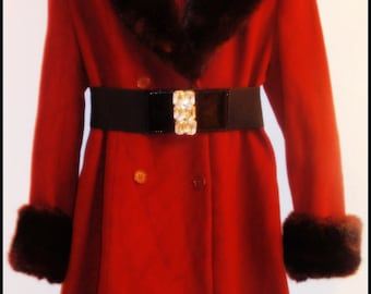 Mod London Chic Rich Wine Fur BELTED coat Size Small