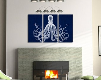 SPECIAL SALE (First 5 customers) Octopus Triptych Set in navy blue - Octopus art, Canvas print Stretched canvas wall Art print