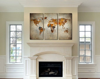 Mother's Day gift , Rustic World Map Canvas Art - Set of 3 giclee print Triptych wall art canvas print Beautiful wall hanging