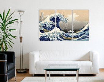 The Great Wave off Kanagawa Canvas Art - Katsushika Hokusai - Set of 3 triptych - Japanese artwork