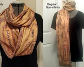 Narnia KNIT scarf - Infinity or Regular style -  Map of Narnia