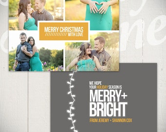 Christmas Card Template: Merry & Bright D - 5x7 Holiday Card Template for Photographers