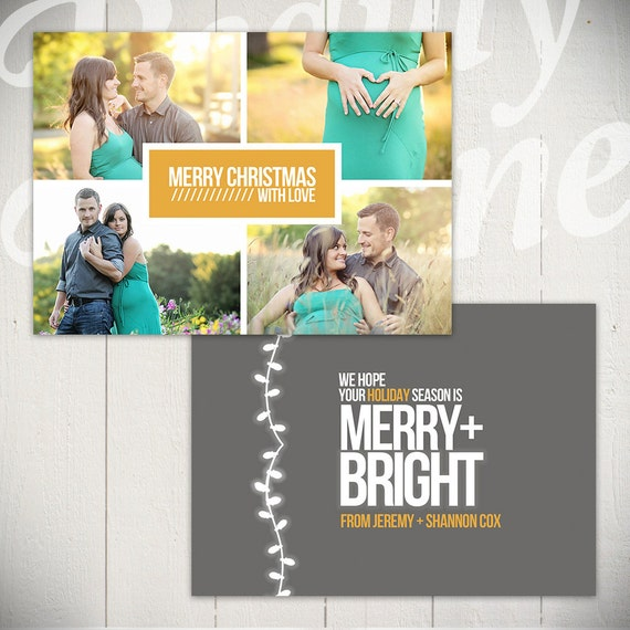 Christmas Card Template: Merry & Bright D 5x7 Holiday Card