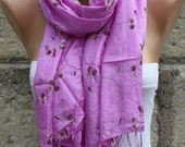 Lilac Floral Scarf Spring Summer Scarf  Shawl Scarf   Cowl Scarf  Gift Ideas For Her Fashion Accessories best selling item