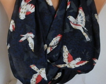 Birds Print Infinity Scarf Christmas Gift  Animal Scarf Cowl Scarf  Gift Ideas For Her Women's Fashion Accessories