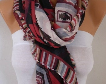 Southwestern Scarf Bohemian Scarf Aztec Scarf Tribal Scarf Shawl Multicolor Cotton Scarf Gift Ideas For Her  Women Fashion Accessories