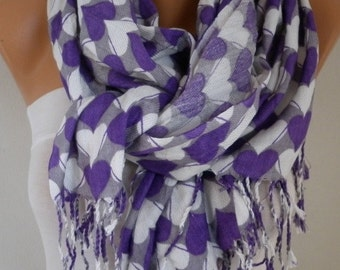 Purple Heart Print Pashmina Scarf, Shawl,Wedding Scarf,Bridal Scarf, Oversized Cowl Scarf,Gift Ideas For Her,Women Fashion Accessories