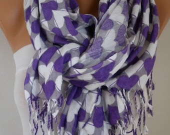 Heart Print Cotton Scarf Shawl Oversized Pashmina Cowl Scarf Gray - White - Purple Gift Ideas For Her Women Fashion Accessories best selling