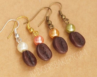 faux COFFEE BEAN dangle earrings - coffee earrings