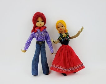 SALE 20% OFF // 2 Vintage Articulated Dolls Made in Former East Germany