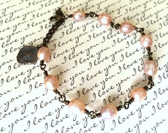 Pearl Rosary Bracelet - White, Pink, and Gray - Wrapped Bracelet -  Blessed Virgin Mary Bracelet - Vintaj Natural Brass -  Made in USA
