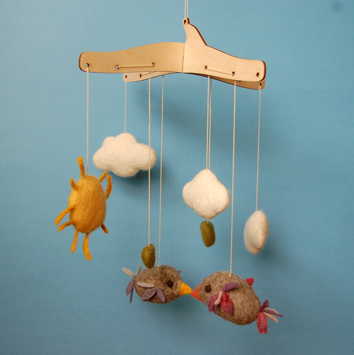 Felt baby mobile birds hearts clouds sun handmade unique for Unusual baby mobiles