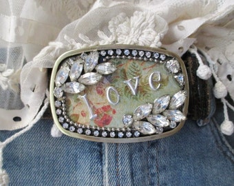 SALE slashKnots vintage rhinestone belt buckle - love - rustic pink green inspirational boho chic by slash Knots slashknots