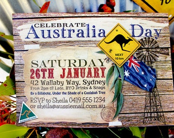 Australia Day Outback Invitation - Family BBQ Party - Editable & Printable Australian, Aussie Invitation and Decorations by Sassaby Parties